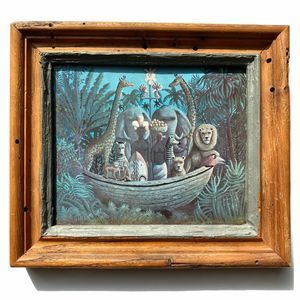 Vintage Noah's Ark Animal Folk Art Framed